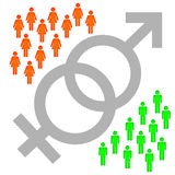 Gender. Competition between the sexes with strong people on both sides stock illustration