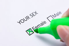 Gender check box on paper. FEMALE Gender check box on paper stock photos