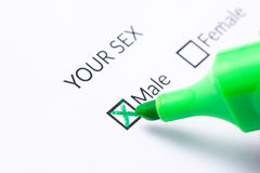 Gender check box on paper. MALE Gender check box on paper Stock Image