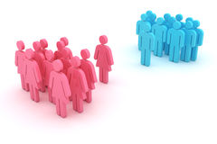 Gender confrontation. Group of women against group of men isolated on the white background Stock Images
