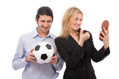 Gender differences. Man and wo   man with different interests on white Royalty Free Stock Images