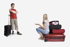 Gender differences in packing. Things for vacation stock image