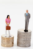 Gender differences in salaries. Gender differences between man and woman in  payment Stock Photos