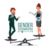 Gender Discrimination And Human Comparison Vector. Male And Female Standing On Judicial Scales Symbol Of Discrimination. Differences Between Man And Woman Flat stock illustration