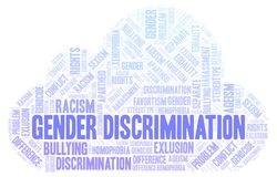 Gender Discrimination - type of discrimination - word cloud. Wordcloud made with text only royalty free illustration
