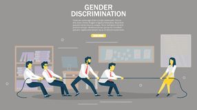 Gender discrimination vector web banner design template. Gender discrimination web banner design template. Vector illustration of strong woman pulling rope with stock illustration