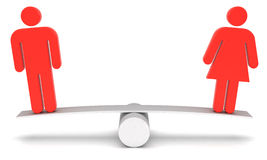 Gender equality. Red figures of man and woman on the scales Royalty Free Stock Photography