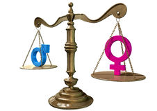 Gender Equality Balancing Scale Stock Photos