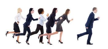 Gender equality concept - business women running for business ma Royalty Free Stock Images