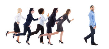 Gender equality concept - business women running for walking bus. Iness men isolated on white background Stock Images