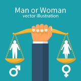 Gender equality concept. Man holds balance in hand. Vector illustration in flat style design. Male or woman silhouette pictogram. Gender icon Stock Photo