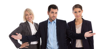 Gender equality concept: team of female and male business people. Isolated over white Royalty Free Stock Photography