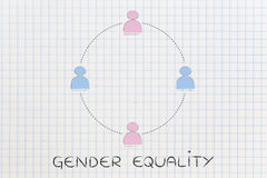 Gender equality and equal opportunities, team of men and women Stock Photography