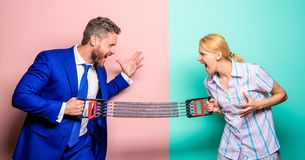 Gender equality and human rights. Business as sport concept. Man and woman stretching expander opposite sides. Business. Gender equality and human rights royalty free stock photos