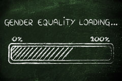 Gender equality loading, progess bar illustration stock photo