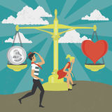 Gender equality of man and woman with money and love Stock Image