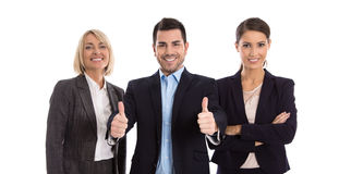 Gender equality: one man with two business woman isolated over w Stock Photography