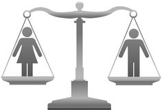 Gender equality sex justice scales. Equality scales weigh gender justice issues Stock Photo