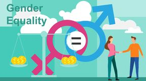 Gender equality vector illustration. Flat tiny persons with sex symbol concept. Gender equality infographic template. Business gender equality vector concept royalty free illustration