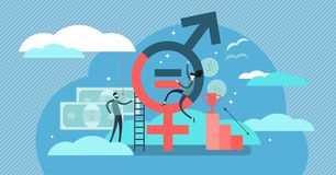 Gender equality vector illustration. Flat tiny persons sex symbol concept. Gender equality vector illustration. Flat tiny persons with sex symbol concept royalty free illustration