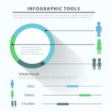 Gender family social flat vector thematic infographics template Stock Image