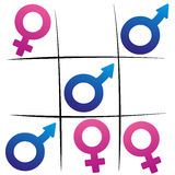 Gender Fight Winning Man Tic Tac Toe Stock Photography