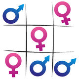 Gender Fight Winning Woman Tic Tac Toe Stock Photos