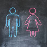 Gender figures. Figures of man and woman on a blackboard, chalk drawing Royalty Free Stock Photo