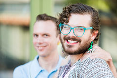 Gender Fluid Young Men. Focus on one member of gender fluid young male couple Royalty Free Stock Photos