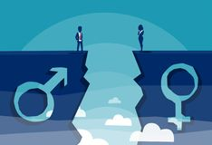 Male and female sign shaped into stone cliff and businessman with businesswoman looking at each other from different sides stock illustration