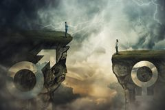 Gender gap idea. And sex inequality concept as male and female sign shaped into stone cliff of different size as a metaphor of social issue distinct importance royalty free stock images