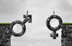 Gender Gap Idea. And sex inequality or equality concept as a male and female symbol shaped into a mountain cliff as a metaphor for pay or wages inequity or Royalty Free Stock Image