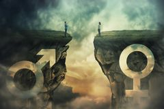 Gender gap idea. And sex equality or inequality concept as male and female sign shaped into stone cliff and men with women looking at each other from different royalty free stock image