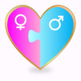 Gender heart puzzle Royalty Free Stock Image