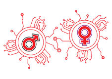 Gender Icon Circuit Royalty Free Stock Photo