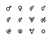 Gender identities icons on white background. Stock Photos