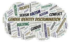 Gender Identity Discrimination - type of discrimination - word cloud. Wordcloud made with text only stock illustration