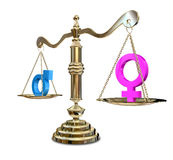 Gender Inequality Balancing Scale Stock Photo