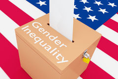 Gender Inequality concept. 3D illustration of Gender Inequality script on a ballot box, with US flag as a background Royalty Free Stock Photos
