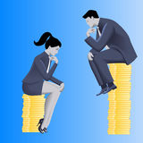 Gender inequality on payment business concept. Businessman looks from top of coins pile on business lady sitting on lesser pile.Concept of career inequality Stock Photo