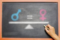 Gender of male is equal with female drawn on the chalkboard. Equality gender concept stock photography