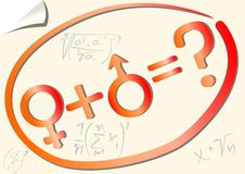 Gender mathematical equation with female and male symbol Royalty Free Stock Photo