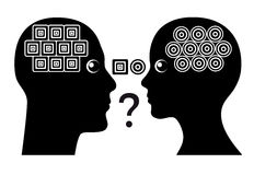 Gender Misunderstanding. Men and women have different structure of thinking leading to communication conflicts Stock Images