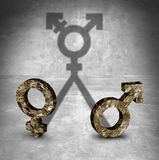 Gender Neutral Symbol Concept. Gender neutral and transgender sexuality identity concept as a male and female symbol casting a shadow in a 3D illustration style Stock Photos