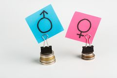 Illustration of gender pay gap with colorful stickers stock images