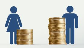 Free Gender Pay Gap, Male And Female Signs Near Different Stacks Of Coins Stock Photo - 161280030