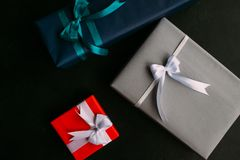 Gender presents family values holiday gifts. Top view of gender family gifts. Holiday presents. Celebration tradition values concept Royalty Free Stock Images
