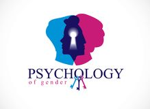 Gender psychology concept created with man and woman heads profi. Les and keyhole with key of understanding, vector logo or illustration of relationship problems Stock Photo