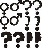 Gender - question mark, exclamation mark. Male and female astrological symbol or icon Stock Photos