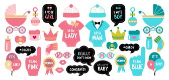 Free Gender Reveal Baby Shower Photo Booth Props Stock Images - 135597424